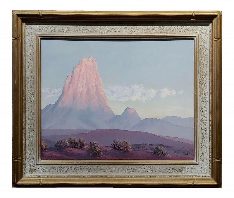 John William Hilton -Pilar of Fire in California Desert Landscape -Oil Painting
