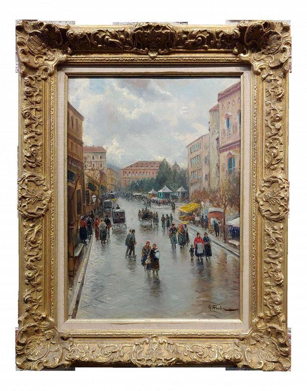 Impressionist Gustav Prucha Busy Parisian Street Scene After the Rain Oil Painting