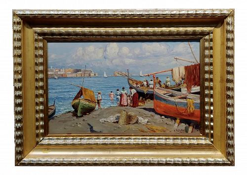 Attilio Pratella 1920s Study of the Fisherman Marina in Napoli -Oil Painting