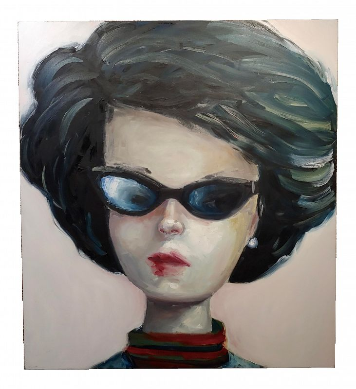 Portrait of a Stylish American Girl-Oil Painting by Claudia Parducci