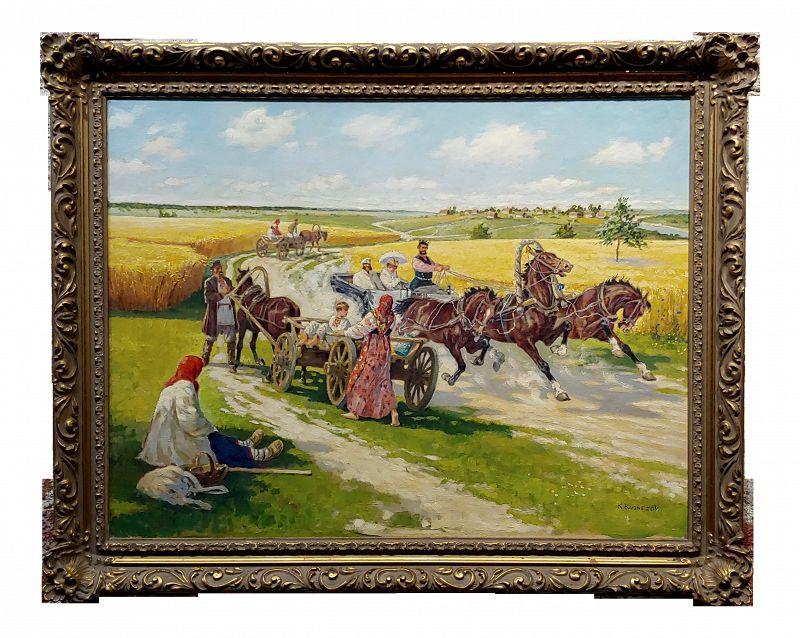 1940s Federal Oil Painting by Konstantin Konstantinovich Kuznetsov, Russian Riders Scene
