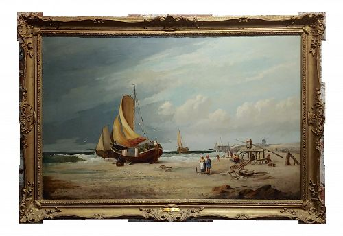 19th Century Fishing Boats - 1878 Large Oil Painting by c.h. Cook