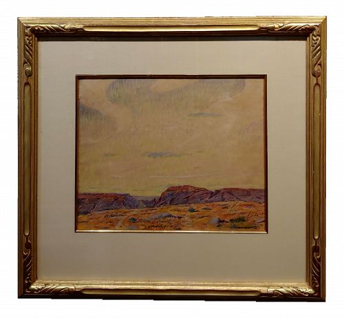 1930s Vintage Desert Mesa Painting by Gerald Cassidy
