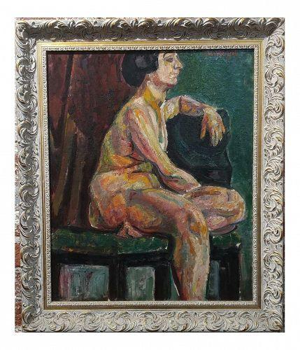 "Pinchus Kremegne ""Femme Seated Nude"" Expressionist Oil Painting"