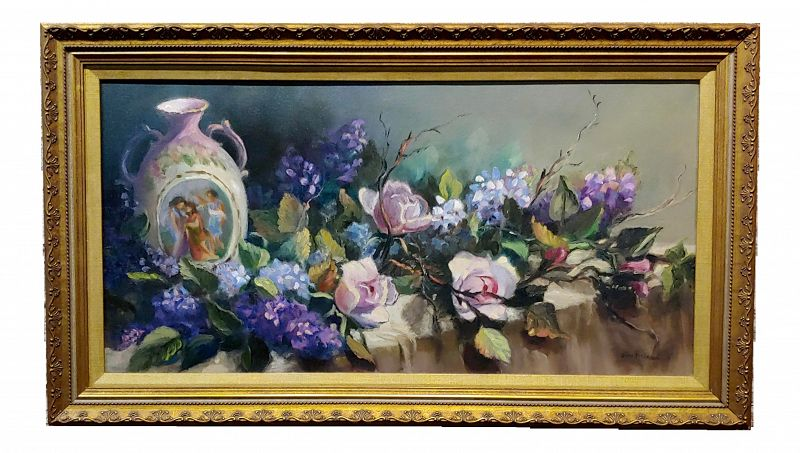 Traditional Still Life of Roses With a Porcelain Vase Oil Painting by Jane Peterson