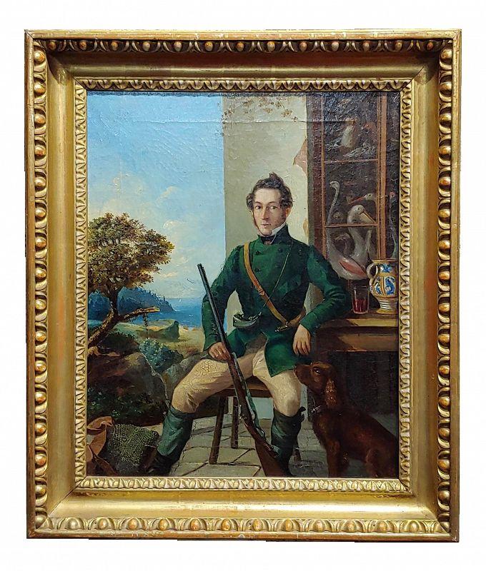 Portrait of a Hunter W/His Dog-19th Century Italian School-Oil Painting