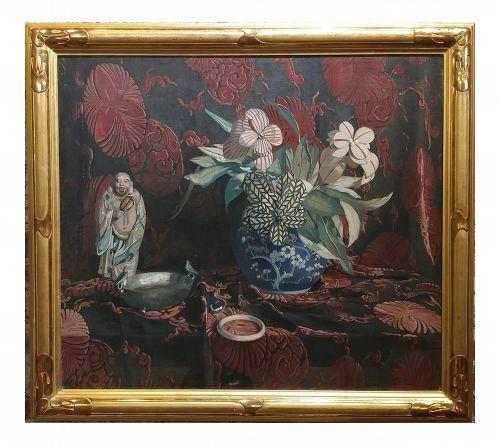 1920s Julius Moessel Flowers Still Life Oil Painting