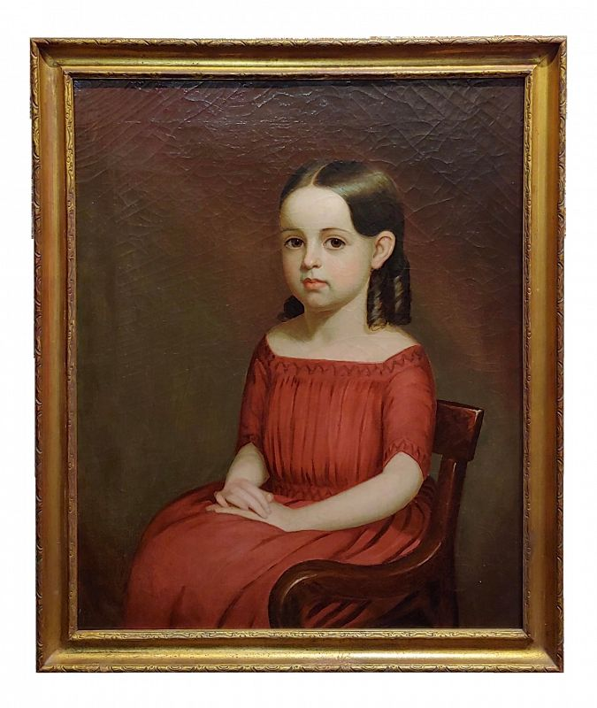 19th Century Portrait of a Beautiful Girl in Red Oil Painting