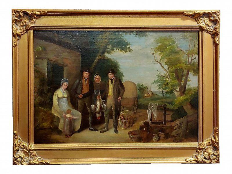 "19th Century English School ""Family Outside Their Farm"" Oil Painting"