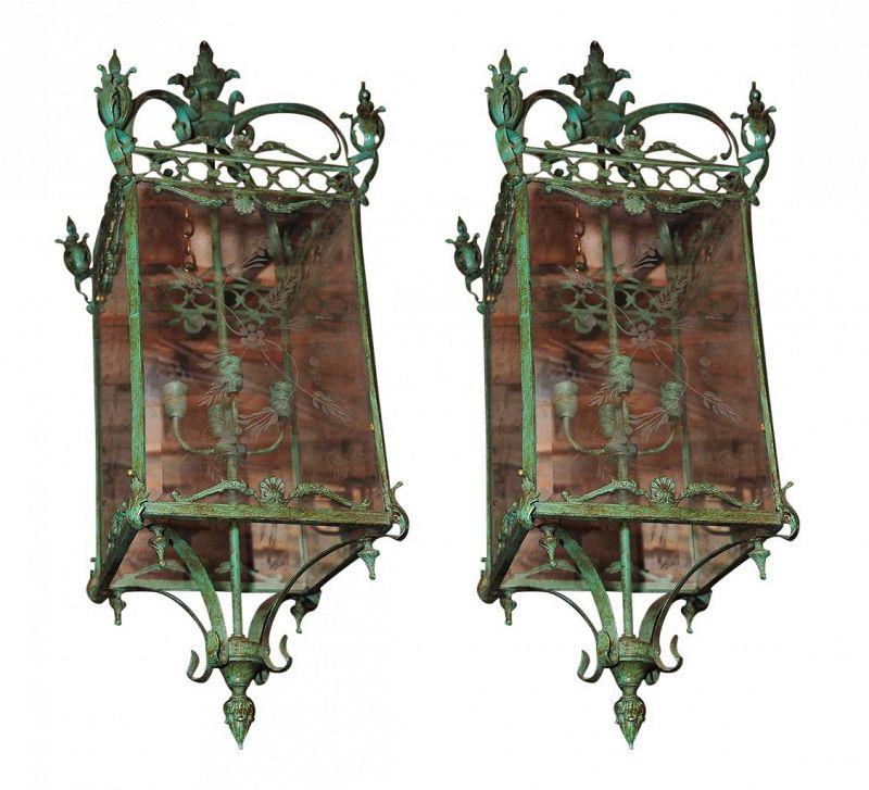 Etched Glass Bronze Lanterns - A Pair