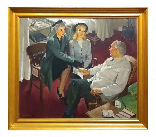 "George Rapp ""Young Girl at Doctor Visit"" Oil Painting on Canvas, 1930s"