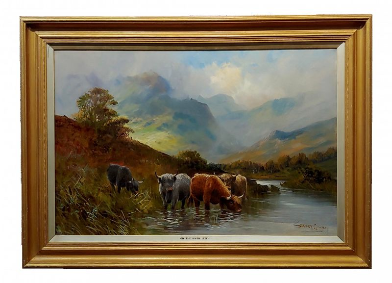 19th Century English Traditional Stanley Graham -Highland Cattle in a Scottish Landscape