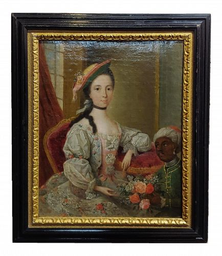 "18th Century ""Aristocratic Lady & Her Black Slave"" Oil Painting by Friedrich Ludwig Hauck"