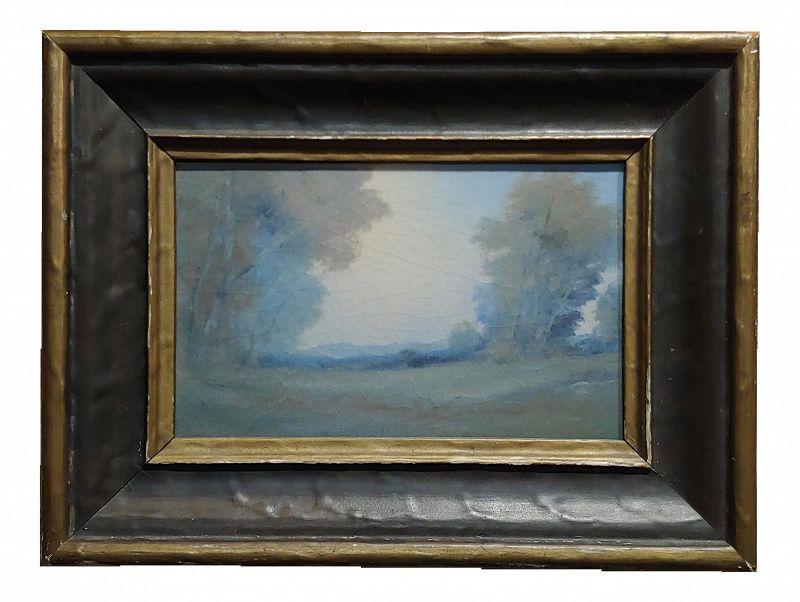 Edward Diers 1921 Rookwood Vellum Plaque Landscape with Original Frame