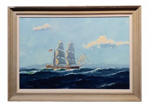 William Hughes American Ship at Sea -Oil Painting