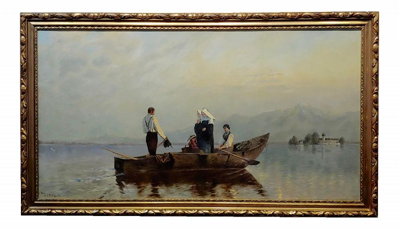 19th Century Vintage Nuns River Crossing on Boat Oil Painting