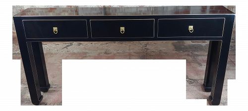 Black Lacquer 3 Drawer Console Table