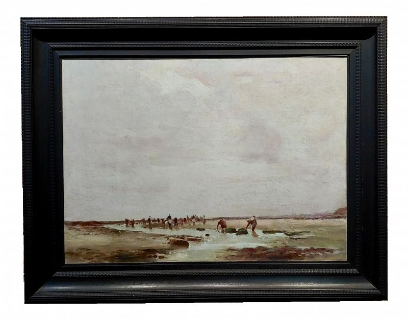 "19th Century Impressionist Oil Painting by John Stanton, ""Clam Digging in a California Beach"""