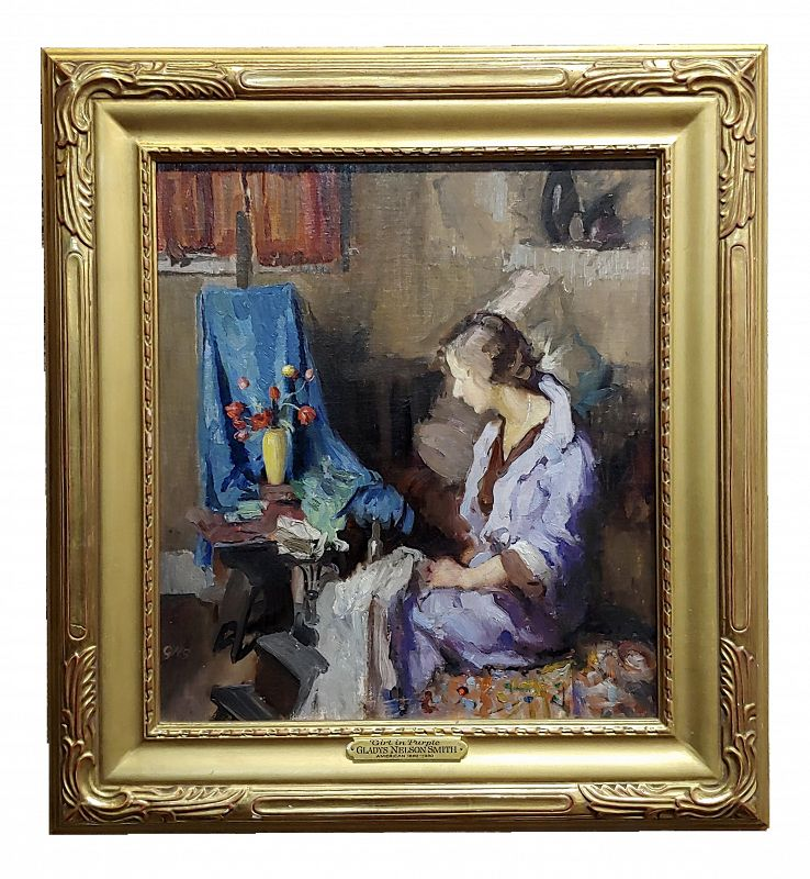 Gladys Nelson Smith - Woman in Purple Looking at Flowers- Beautiful Oil Painting
