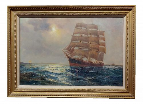19th Century Oil Painting of Clipper Ship Seascape by Daniel Sherrin the Elder