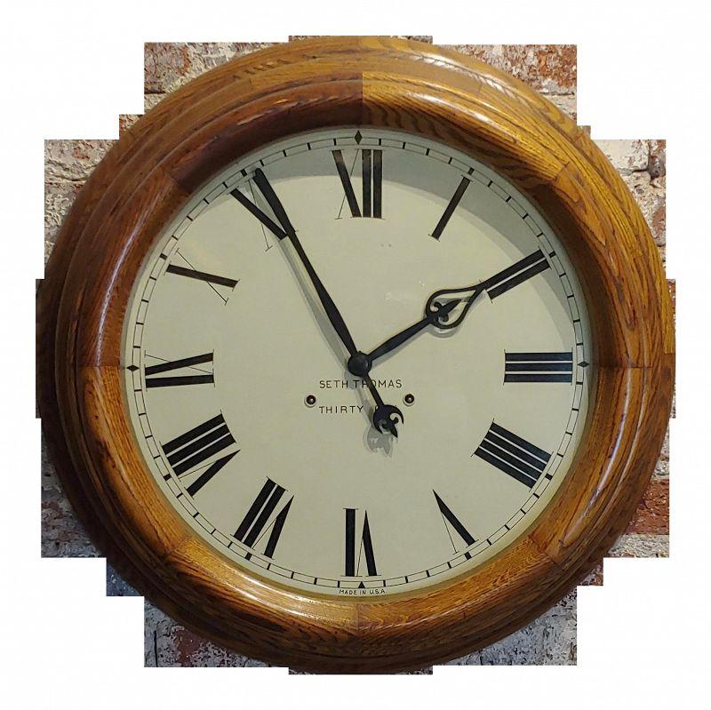"""1900s Seth Thomas 30 Days 24"""" Oak Gallery Clock"""