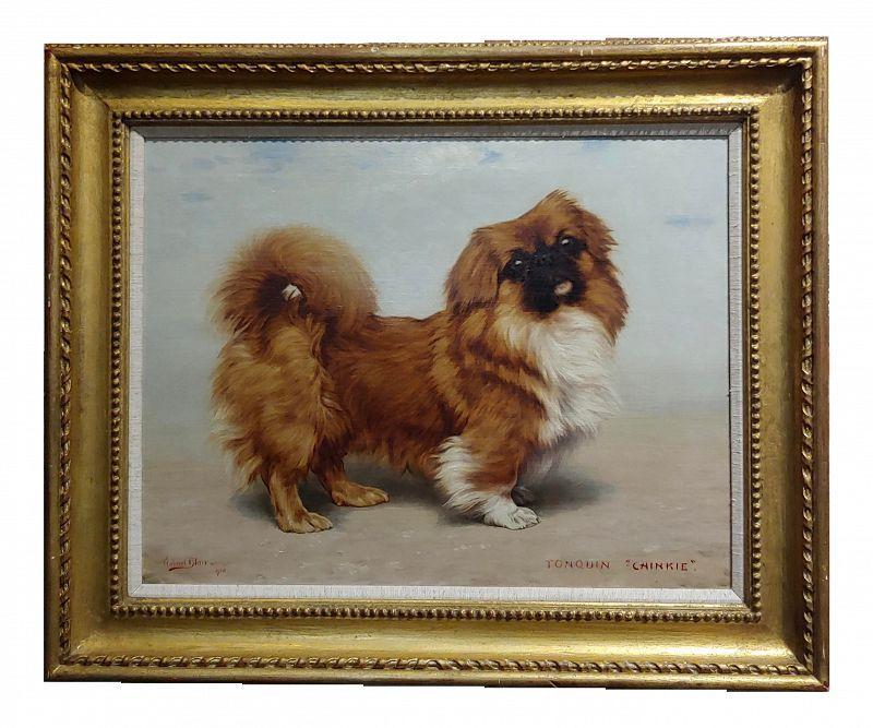 1918 Pekingese Dog Portrait Oil Painting by Gabriel Blair