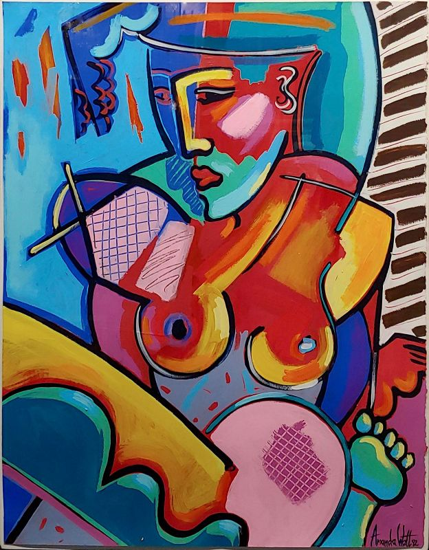 1990s Vintage Cubist Seated Nude Female Oil Painting Amanda Watts