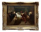 1860s Traditional Frederik Willem Zurcher Oil Painting - Rembrandt on His Deathbed