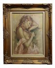 Leo Jansen -Portrait of a Beautiful Nude Red Headed - Oil Painting
