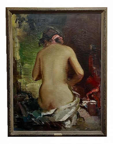 1950s Vintage Paul Puzinas Seated Nude Female Impressionist Oil Painting