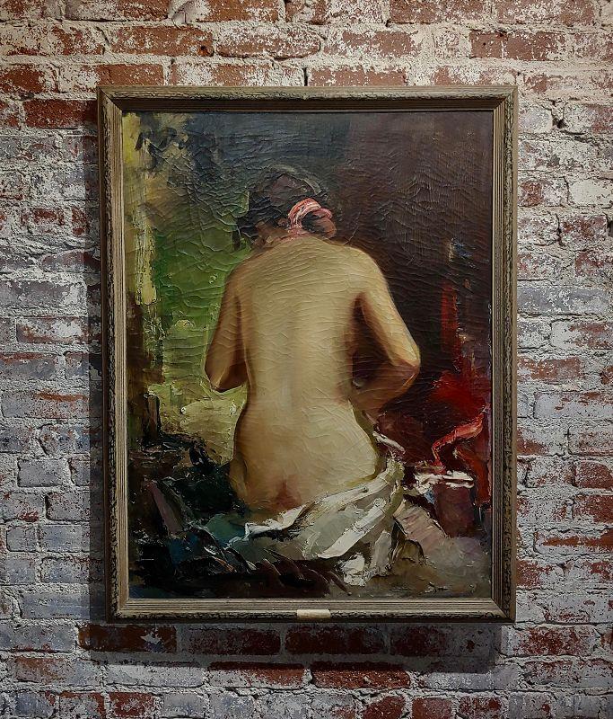 1950s Vintage Paul Puzinas Seated Nude Female Impressionist Oil Painting