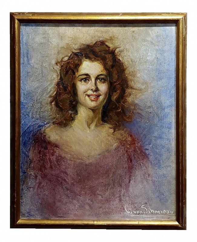 Christian Von Schneider -Portrait of Daughter -Oil Painting