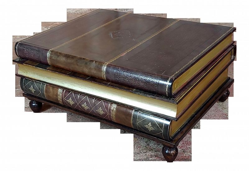 1960s Traditional Maitland-Smith Stacked Leather Books Form Coffee Table