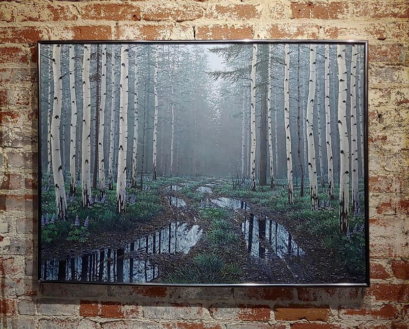 Jack Braman -Inside a Misty Forest of Aspens -Realism-Oil Painting