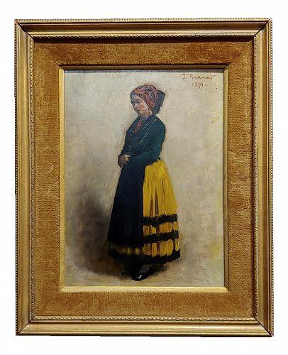 Leon Bonnet 19th Century Portrait of an Italian Woman Oil Painting C. 1871