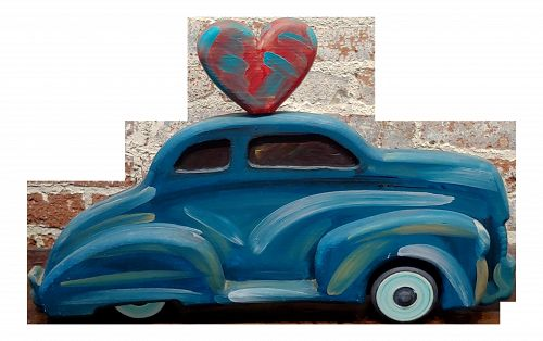 Frank Romero -Blue Chevy Car of Love -Oil Painted Sculpture
