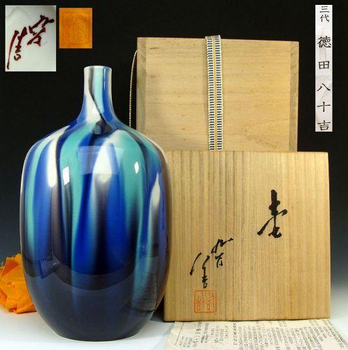 Kutani Vase by Living National Treasure Tokuda Yasokichi III