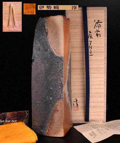 Exhibited Bizen Vase by Living National Treasure Isezaki Jun
