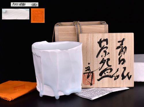 Kato Tsubusa Faceted Seihakuji Chawan Tea Bowl