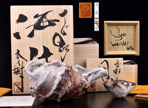Goto Hideki Shino Shell Forms Sake Set Piease See !!!