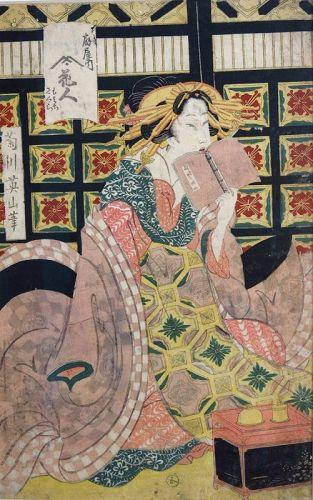 Eizan Kikugawa PRINT series of five courtesans Japan Edo 19th