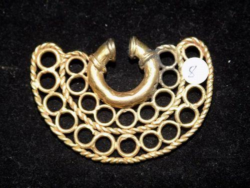 Pre-Columbian Tairona Gold Nose Ring, High Karat, Authentic