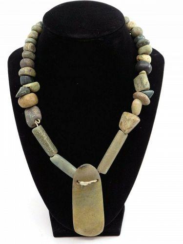 Pre-Columbian Jade Ceremonial Axe Necklace