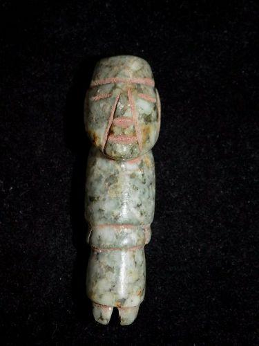 Pre-Columbian Mayan Jade Carved Figure Tube Bead, Authentic