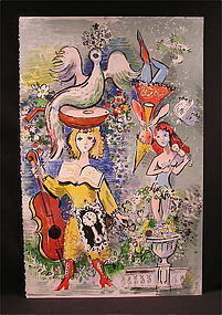 """Original Lithograph by Charles Cobelle,""""Music Man"""""""