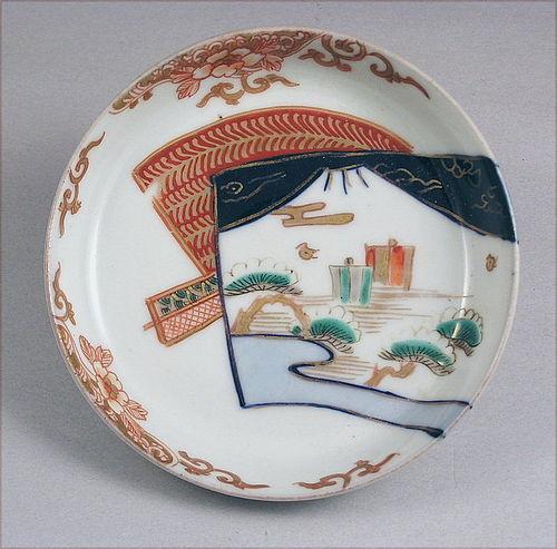 Nice Japanese Imari Porcelain Dish Fuji Mtn 19c