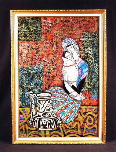 Original Painting by Acrylic with Frame, Mother and Child