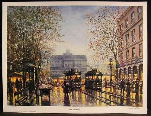 Lithograph by Josef Sambataro, 6 O'Clock Trolleys, L/ED