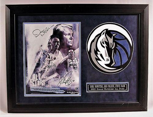 Very Rare 2002 Dallas Mavericks All Stars w/Nowitzki Framed