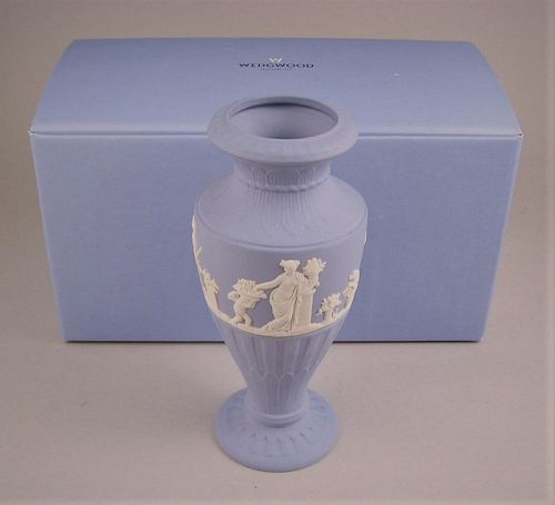 Exquisite Wedgewood Blue Jasper Fluted Vase